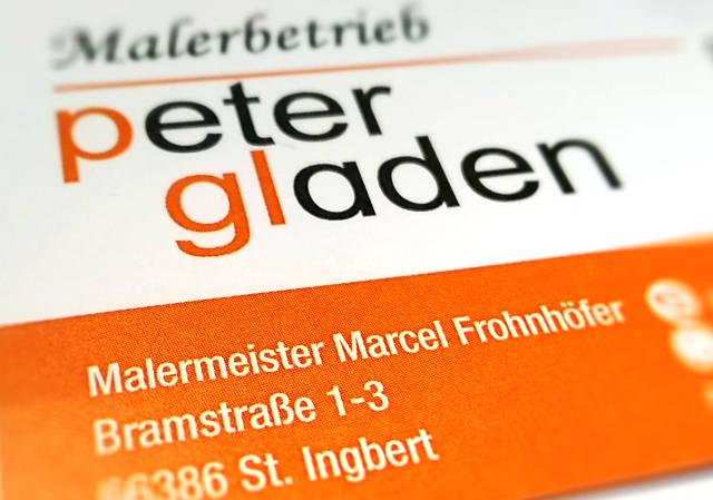 Malerbetrieb Peter Gladen visitenkarte